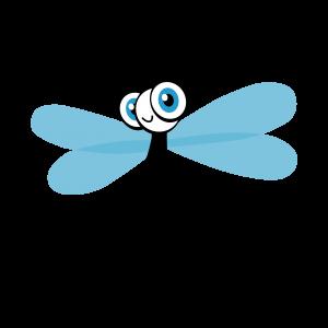 Hier ist eine freundliche, blaue Liebelle zu sehen, Das Maskottchen von KuLKids. Die gleiche Libelle kommt auch im Firmenlogo vor.